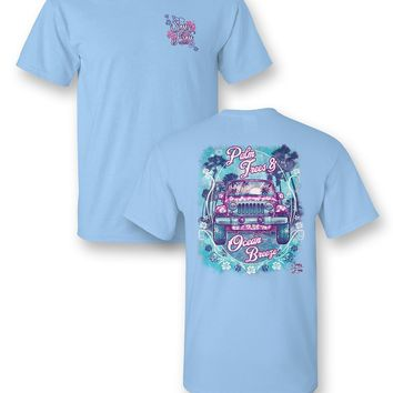 Sassy Frass Palm Trees & Ocean Breeze Jeep Bright Girlie T Shirt
