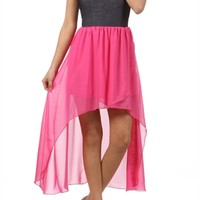 Hot Pink and Jegging Material High Low Dress