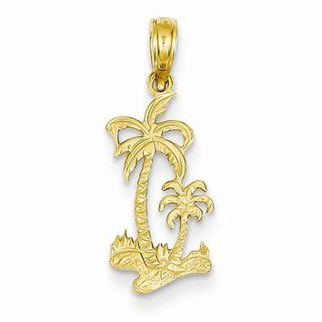 14k Gold Double Palm Trees pendant