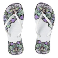 Old world purple pansy tile print flipflops
