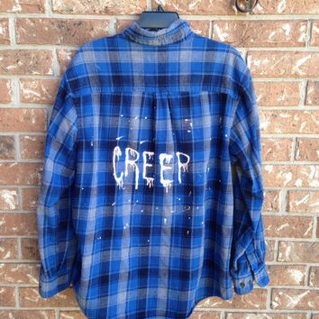 Plaid flannel Creep bleached shirt // soft grunge// grunge medium