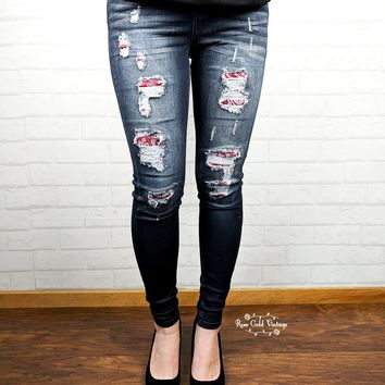 Bandana Patch Skinny Jeans by Judy Blue - size 0, 3 only