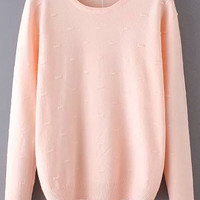 Pink Long Sleeve Loose Sweater