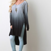 Ombre Draped Back Long Sleeves High Low Slit Midi Top