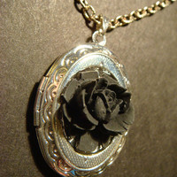 Victorian Style Black Rose Locket Necklace by CreepyCreationz