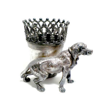James W Tufts, Antique Figural Toothpick Match Holder 2692, Crown Filigree, Lab Retriever Dog, Silver Plate, Highly Collectible, Late 1800s
