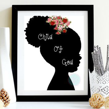 "Nursery Art, ""Child Of God"". 8x10 Typography,Black Art Print, Christian Art Print, Scripture Art Print, Nursery Gift, African-American Girl"