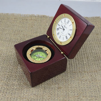 Personalized Nautical Compass Clock- Desk supplies- Fathers Gift- Grandfathers Gift