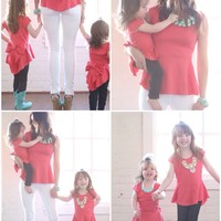 Mommy Peplum Coral Top - Ryleigh Rue Clothing by MVB