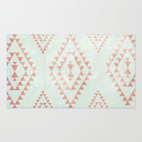 mint & coral tribal pattern Rug by Dani