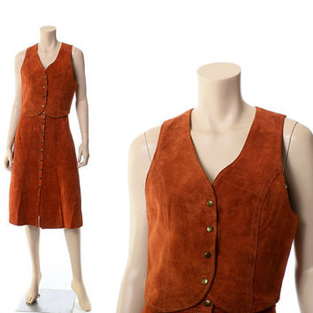 Vintage 60s 70s Berman Buckskin Suede Skirt and Vest 1960s 1970s Rust Leather Boho Indian Leather Western Hippie Outfit