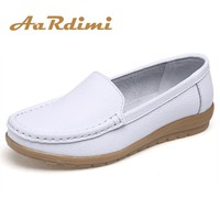 Genuine Leather Summer Women Flats Shoes Casual Flat Shoes Women Loafers Shoes Soft Leather Slip On Solid Women's Shoes