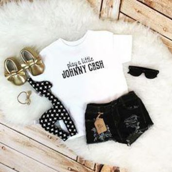 Play A Little Johnny Cash Kid's Tee Or Bodysuit