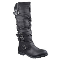 Womens Strappy Knee High Boots Black
