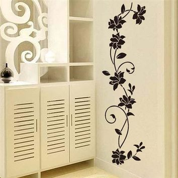 % Black flower Vine Wall Stickers Refrigerator Window cupboard Home Decorations Diy Home Decals Art Mural Posters Home Decor