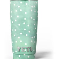 Green Watercolor and Whtie Polka Dots Yeti Rambler Skin Kit
