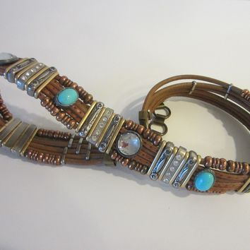 Tribal Tan Leather Western Belt Turquoise Rhinestone Cabochons Various Beads