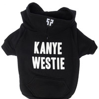 Petals and Peacocks Kanye Westie Dog Hoodie Black
