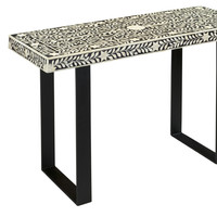 Leaf and Vine Black/White Sofa Table