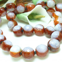 Red and White Banded Fire Crackle Agate Beaded Necklace 20 inch