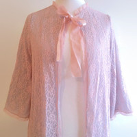 Vintage pink lace robe - sky blue lacey peignoir  - long retro floral housecoat - glamour nightwear