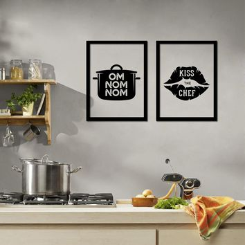 Funny Home Kitchen Decoration - I Love Cooking  Canvas Prints Poster Creative Design Kitchenware Wall Art Painting Pictures
