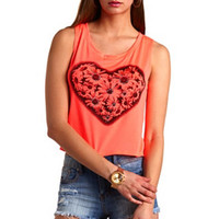 RHINESTONE DAISY HEART GRAPHIC CROP TOP