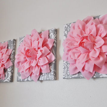 "Nursery Wall Art -SET OF THREE Light Pink Dahlia on Gray and White Damask 12 x12"" Canvas -Wall Flower"