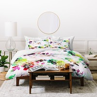 CayenaBlanca Romantic Flowers Duvet Cover