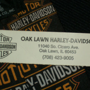 Vintage Harley Dvidson Tie Classic Logo Black Ralph Marlin Necktie RM Motorcycles 100% Polyester Mens Oak Lawn Neckwear Novelty With Tags