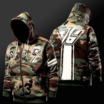Overwatch Soldier: 76 Camo Fleece Lined Zip-Up Hoodie