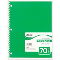 Mead Spiral Bound Notebook, Wide Rule, 8 x 10-1/2, 1 Subject, 70-Sheets, Colors May Vary - Walmart.com
