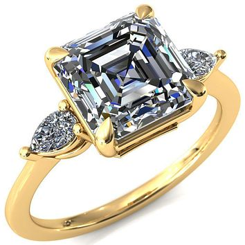 Robyn Asscher Moissanite 4 Claw Prong 2 Rail Basket Pear Sidestones Inverted Cathedral Engagement Ring