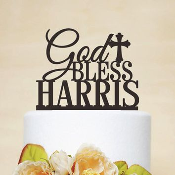 Personalized Cake Topper With Name,Personalized Christenings Baptism Cake Topper With Name And Cross