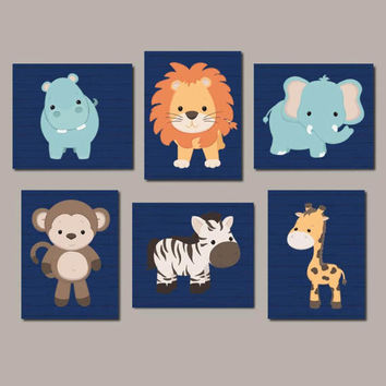 Zoo Animal Nursery Art, Jungle Animals, Safari Animals, Animal Nursery Prints, Nursery Wall Art, Boy Nursery Art, Set of 6 Prints Or Canvas
