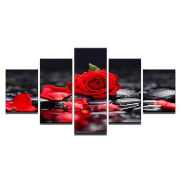Canvas Paintings Home Decor Living Room Wall Art 5 Pieces Red Rose Flowers Pictures Modular Print Poster Framework Ready to hang