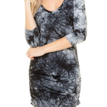 3/4 Sleeve Side Shirring Tie Dye Dress