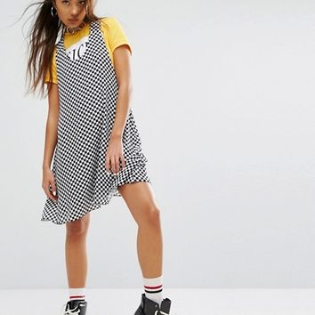 The Ragged Priest Racer Back Mini Dress With Metal Ring In Checkerboard at asos.com