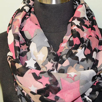 Pink Star Pattern on Black Infinity Scarf