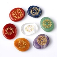 Day-First™ 7 piece Engraved chakra stone palm stone crystal reiki healing with one pouch = 1958056452