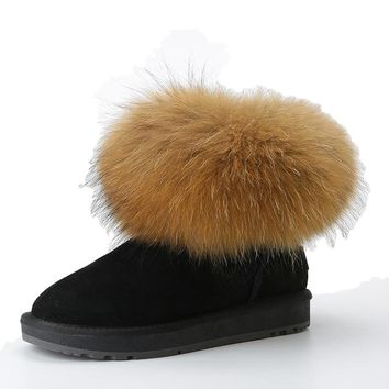 Shearling Lined Boots With Fox Fur And Suede