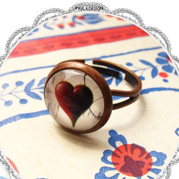 Hearts & Spades Rings, Matching Couples Rings Name Ring, Set of 2 Rings, Personalized Ring, Vintage Brass Rings-Best  Gifts