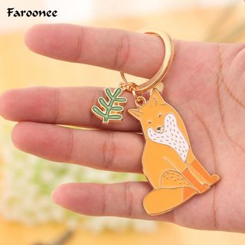 1PC Lovely Animal Keychains Cute Dog Cat Kitty Bear Fox Key Chain Keyring chaveiro Women Car Key Accessories 2018 Gifts S3703