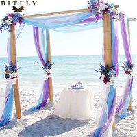 5M*1.35M Sheer Organza Swag Fabric wedding decoration,factory price with best service for custom ,the most beautiful