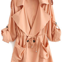 Solid Color Lapel Long Sleeve Trench Coat