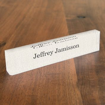 Acrylic Desk Nameplate Faux Textured Burlap Design