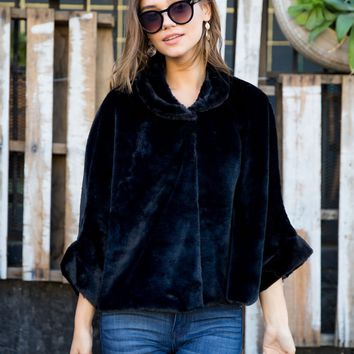 Black Soft Faux Fur Velvet Cape
