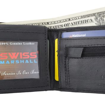 Swiss Marshal Flap Up ID Credit Card Holder Genuine Leather Bifold Wallet W/ Zippered Coin Pocket SM-P3053