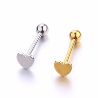 Heart tongue ring stud stainless steel man woman fashion jewelry gold silver tongue piercing jewelry 1pc free shipping fashion