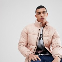 Pull&Bear Panelled Puffer Jacket In Pink at asos.com